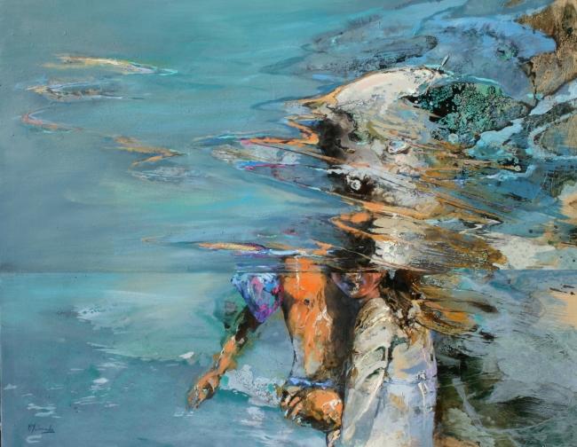 Marta Maldonado, el abrazo 2, 114x146 cm., mixta s. tela – Cortesía de la artista