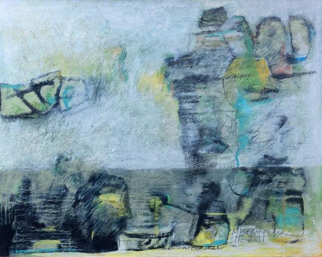 M. J. Bagazgoitia, FGB 4049. Me mataron los Murmullos, óleo tabla, 40x50 cm. — Cortesía de IB Isabel Bilbao Galería de Arte