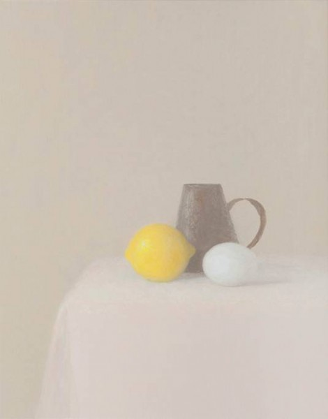 Juan Carlos Lázaro, imón, jarra de hojalata y huevo, 2014-15, óleo/lienzo, 41 x 33 cm. | Ir al evento: 'Juan Carlos Lázaro'. Exposición de Pintura en Estampa / Madrid, España
