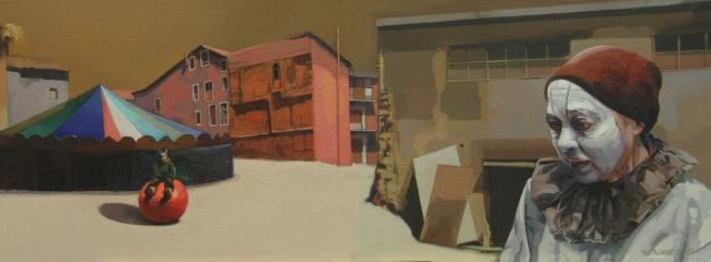 Juanjo Viota, En blanco, 2017. Óleo sobre lienzo, 30'5x81cm. – Cortesía de es.Arte Gallery