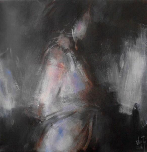 Luis Zilveti, Femme de profil, 50 x 50 cm, óleo s/lienzo, París-2016