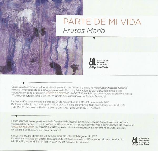 Próxima inauguración exposición Escultor Frutos María en el Palacio de la Diputación de Alicante.