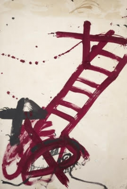 Antoni Tàpies, Escala vermella I, 1983 | Ir al evento: 'Temps, matière, mémoire'. Exposición de Pintura en Galerie Lelong - París / Paris, Ile-de-France, Francia