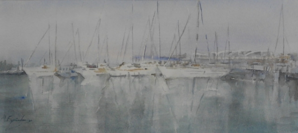 Puerto de Burriana.Acuarela,23x53 cm. | Ir al evento: 'Magdalena España, acuarelas'. Exposición de Pintura en Aitana / Borriana/Burriana, Castellón, España