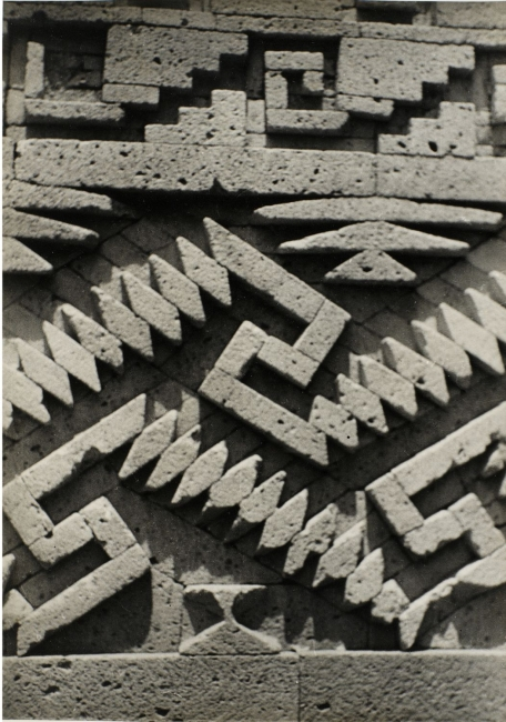 Josef Albers, Detail of stonework, Mitla, ca. 1937. Gelatin silver print, 24.7 × 17.7 cm. The Josef and Anni Albers Foundation © 2017 The Josef and Anni Albers Foundation/Artists Rights Society (ARS), New York