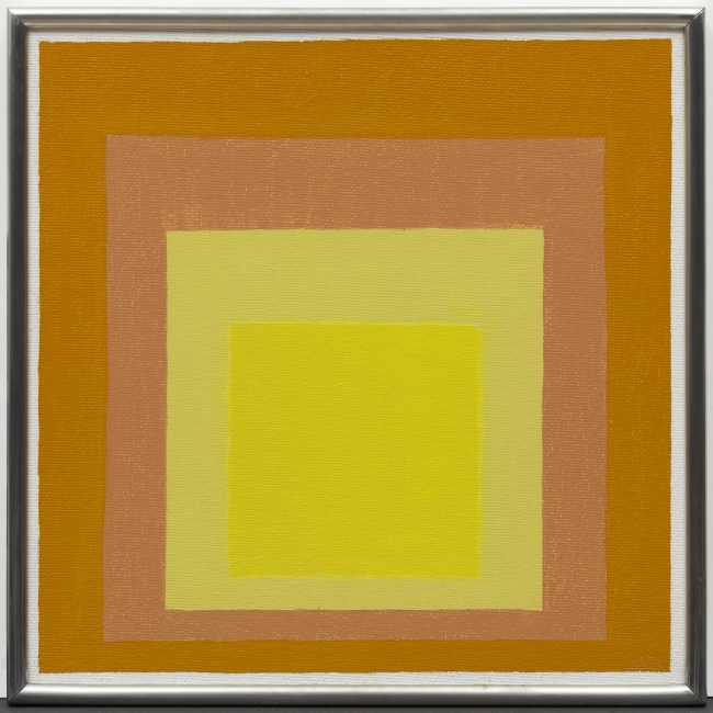 Josef Albers, Study for Homage to the Square: Consent, 1971. Oil on Masonite, 40.3 × 40.2 cm. Solomon R. Guggenheim Museum, New York, Gift, The Josef. Albers Foundation, Inc. 91.3895 © 2017 The Josef and Anni Albers Foundation/Artists Rights Society (ARS)