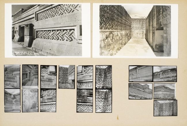 Josef Albers, Untitled (Mitla, Mexico), 1956. Sixteen gelatin silver prints and two found postcards, mounted on cardboard, 20.3 × 30.5 cm. The Josef and Anni Albers Foundation © 2017 The Josef and Anni Albers Foundation/Artists Rights Society (ARS), New Y