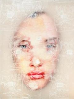 Liu Guangyun, Sin título (serie `Plastic Surgery´). Técnica mixta sobre tela. 100x80x8 cm.