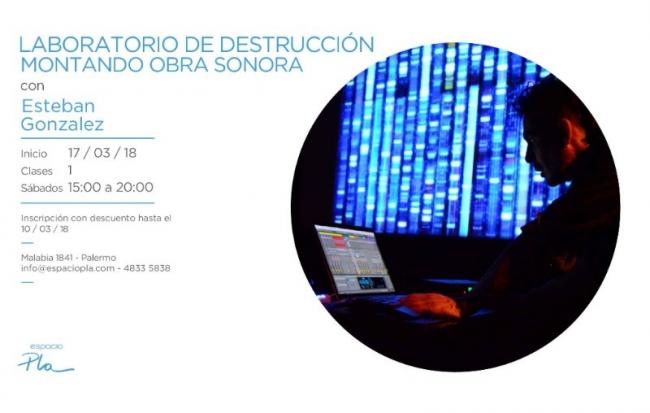 LABORATORIO DE DESTRUCCIÓN MONTANDO UNA OBRA SONORA. Imagen cortesía Espacio Pla