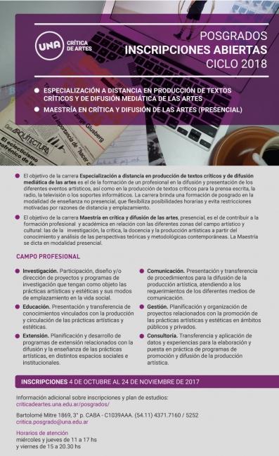 INSCRIPCIONES DE POSGRADO. CICLO 2018
