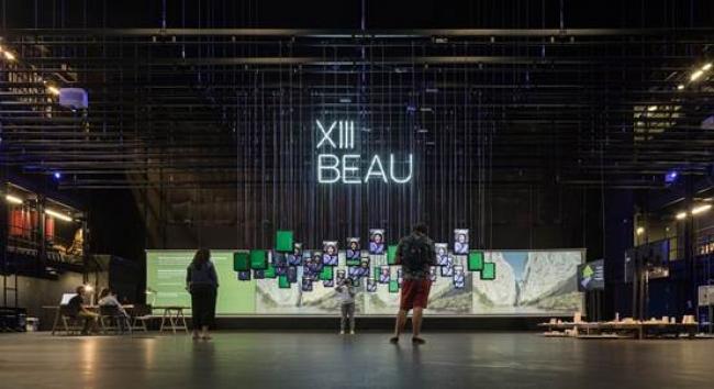 Exposición en el centro Niemeyer de Avilés. Foto: Fernando Alda – Cortesía de la Bienal Española de Arquitectura y Urbanismo