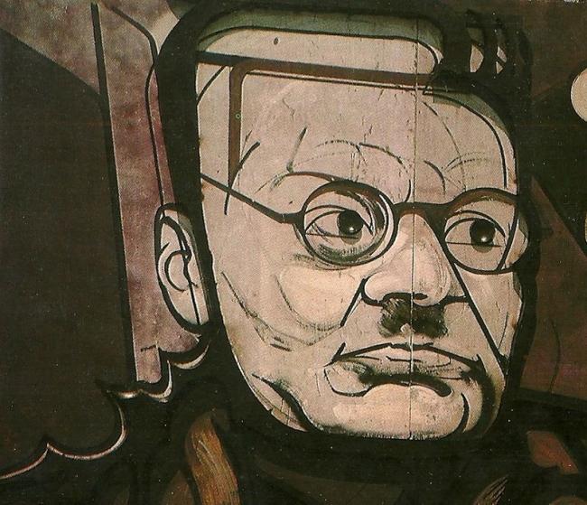 Retrato de José Clemente Orozco en un mural de Siqueiros