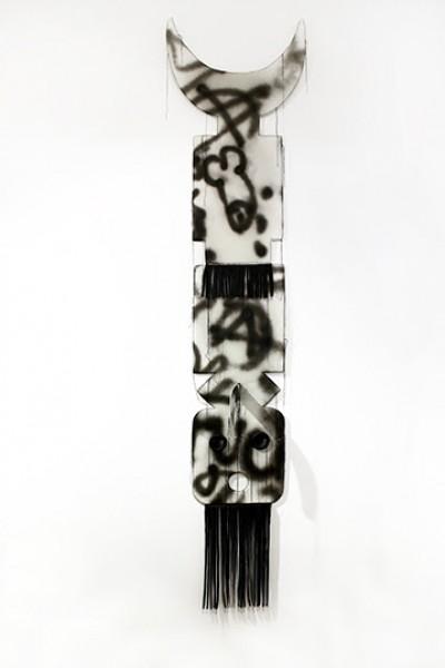 Pedro Valdez Cardoso, Made in Bronx, 2011, cardboard, napa leather, thread and spray, 150 x 40 x 20 cm