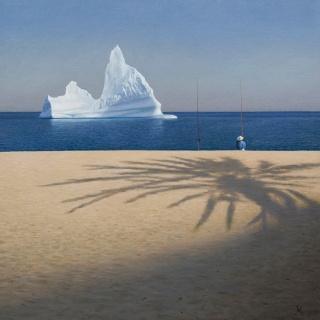 Guillermo Muñoz Vera, Climate Change / Cambio Climático, 2017, oil on canvas mounted on panel, 48 x 48 inches – Cortesía de Forum Gallery