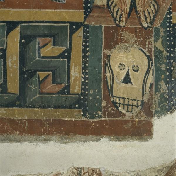 Maestro de Sorpe, Anunciación, Nacimiento y Crucifixión, detalle. Museu Nacional d\'Art de Catalunya