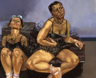 Paula Rego - Dancing Ostriches (triptych-left panel) 1995, pastel on paper mounted on aluminium, each panel 150 x 150 cm