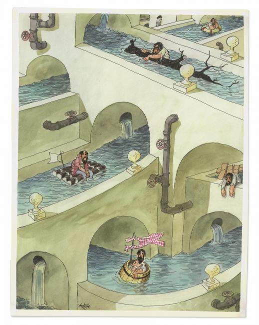 Sin título, Antonio Mingote, ca. 1974. Tinta y acuarela sobre papel. Museo ABC, Madrid – Cortesía del Museo ABC