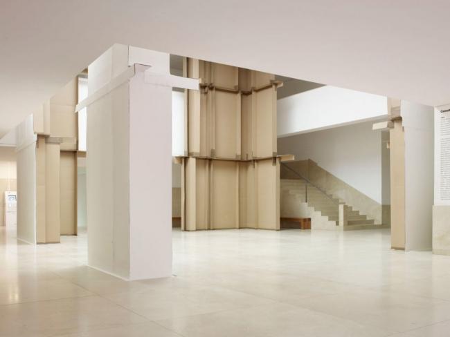 Carlos Bunga, Agora, 2012, Cardboard, packing tape, matt paint and glue. Courtesy of Museu de Arte Contemporanea de Serralves, Porto. Photo credit: Filipe Braga.