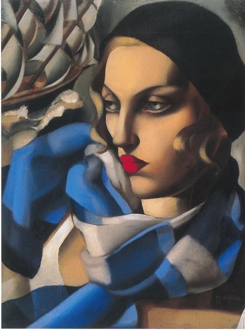 Tamara de Lempicka, L'écharpe bleue, 1930. Óleo sobre lienzo, 56,5x48 cm. Colección privada. © Tamara Art Heritage. Licensed by MMI NYC/ ADAGP Paris/ SIAE Roma 2018 — Cortesía de Acerca Comunicación