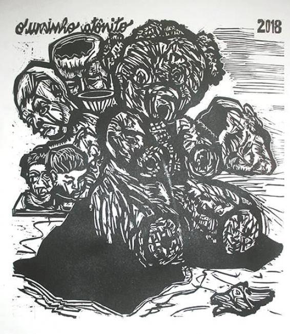 Francisco Maringelli, O Ursinho Atonito, gravura em relevo sobre Duratex, 2018, 41,5x38cm