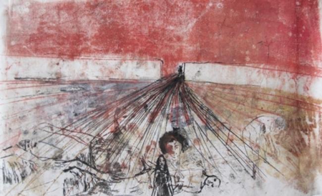 Biba Rigo, Sem título, da serie sismógrafos do temperamento monotipia sobre papel de arroz, 2018, 40x35cm