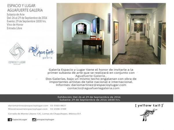 Invitación | Ir al evento: 'Subasta de arte'. Subasta en Espacio y Lugar / Ciudad de México, Distrito Federal, México
