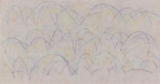 """""""La estructura del viento"""" (2016). 100x190cm. La?piz color sobre tela"""