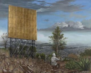 Jesus Herrera | Vista del valle de México junio / julio | óleo sobre lienzo | 160x200 cm. | 2013. Cortesía de ATM