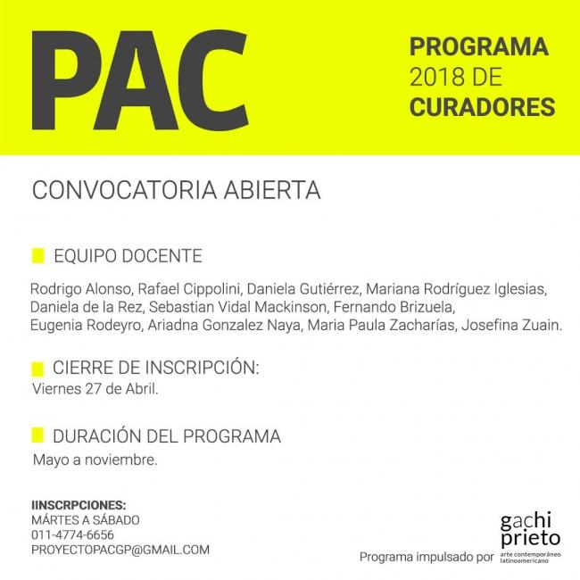Proyecto PAC: Programa intensivo de curaduría. 5ta. edición | 2018