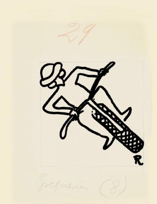 Ramón Gómez de la Serna, Greguerías, 5ª, Blanco y Negro, núm. 2.153, 18 de septiembre de 1932. Tinta y lápiz sobre cartón. Museo ABC, Madrid – Cortesía del Museo ABC