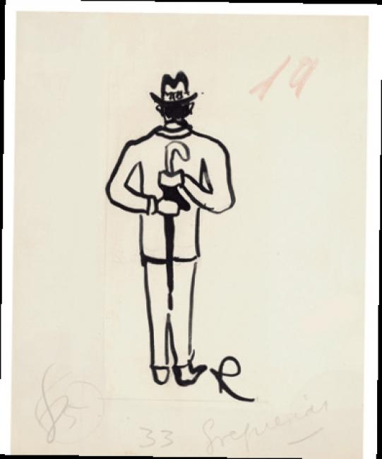 Ramón Gómez de la Serna, Greguerías, 3ª, Blanco y Negro, núm. 2.197, 23 de julio de 1933. Tinta y grafito sobre cartulina. Museo ABC, Madrid.– Cortesía del Museo ABC