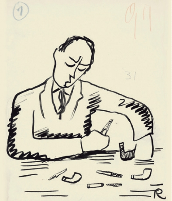 Ramón Gómez de la Serna, Greguerías, 7ª, Blanco y Negro, núm. 2.186, 7 de mayo de 1933. Tinta y grafito sobre cartulina. Museo ABC, Madrid.– Cortesía del Museo ABC
