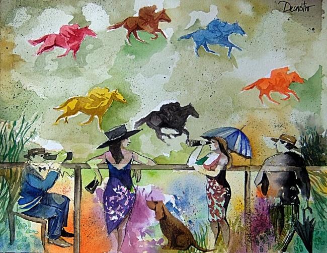 Carrera de caballos | Ir al evento: 'Pinturas y dibujos en Marco Polo'. Exposición de Pintura en Marco Polo / Madrid, España
