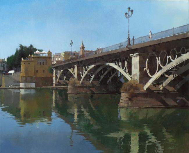 """Francisco Escalera, Río y ciudad. Sevilla. (81x100 cm. Mixta sobre lienzo. Serie """"Guadalquivir"""")  - Cortesía de Francisco Escalera"""