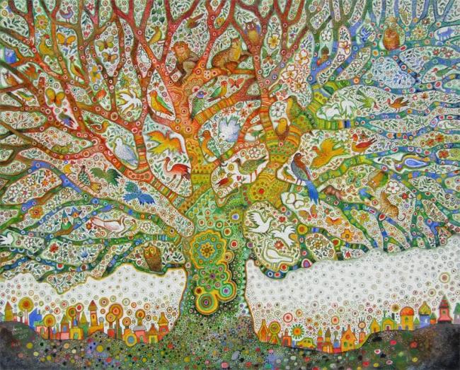 Juan Romero. Primavera en el árbol | Ir al evento: 'De los 60 a la actualidad'. Exposición de Pintura en Galería de Arte Marmurán / Alcázar de San Juan, Ciudad Real, España