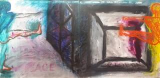 Clorindo Testa, Ballet utopía= no lugar, 200x400 cm, acrílico sobre tela, 1987