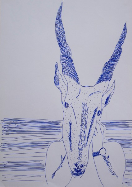 Henrique Neves, BLUE PICTURES, ink on paper