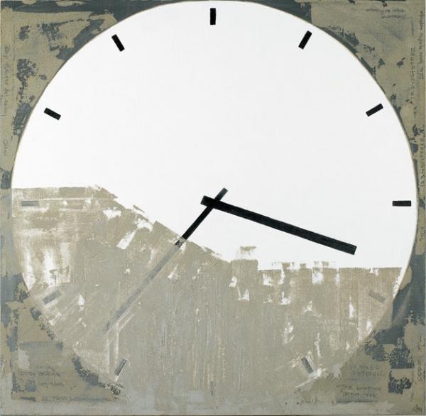 Anna Miquel, Gran màquina implacable, 2004, acrílic, ciment i oli sobre tela, 150×150 cm.
