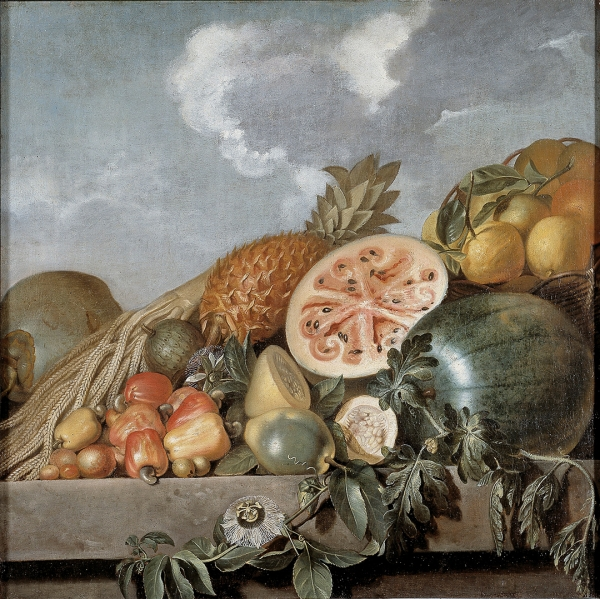 Albert Eckhout, Fruits, Pineapple and, Melon etc., 1640–1650, oil on canvas, 35 13/16 × 35 13/16 in., N.92. Photo: John Lee, National Museum of Denmark, Cope