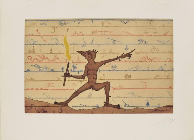Dimoni pompeià, 1973, aguafuerte y aguatinta, 56 x 76 cm., edición de 75 | Ir al evento: 'Don Quixot, Kafka i altres somnis: aguafuertes 1967-1982'. Exposición de Artes gráficas en Eude / Barcelona, España