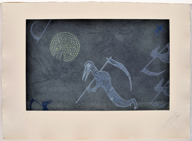 La mort dels mosquits, 1975, aguafuerte, 56 x 76 cm., edición de 75 | Ir al evento: 'Don Quixot, Kafka i altres somnis: aguafuertes 1967-1982'. Exposición de Artes gráficas en Eude / Barcelona, España