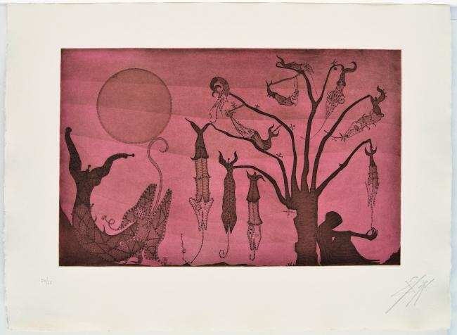 Penúltim capvespre, 1975, aguafuerte, 56 x 76 cm. edición de 75 | Ir al evento: 'Don Quixot, Kafka i altres somnis: aguafuertes 1967-1982'. Exposición de Artes gráficas en Eude / Barcelona, España