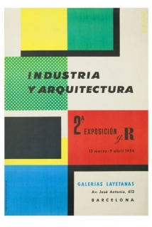 Cartel Indústria y Arquitectura 2ª Exposición g.T, Ricard Giralt Miracle, 1954