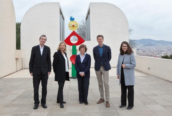 Alfred Pacquement, Iwona Blazwick, Rosa Maria Malet, Magnus af Petersens y Nimfa Bisbe. © Fundació Joan Miró, Barcelona, 2017. Foto: Pere Pratdesaba | Ir al evento: 'Premi Joan Miró 2017'. Premio