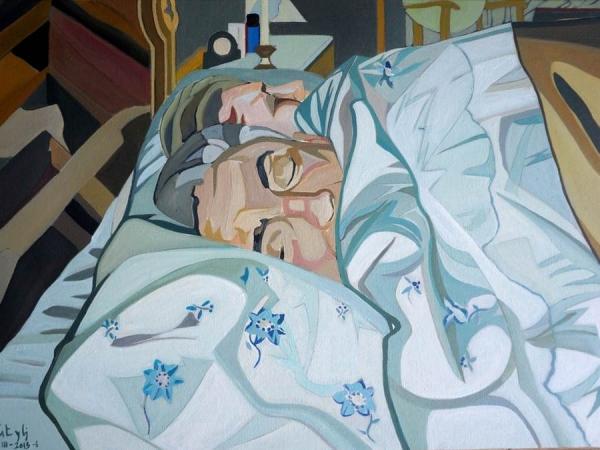 Pepe Carretero, «Mi  padre durmiendo», oleo/lienzo 45 x 60 cm. 2016