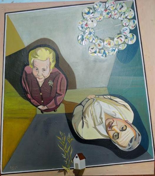 Pepe Carretero, «Sueño con mi madre y broche» oleo/lienzo, 110x 120cm. 2016