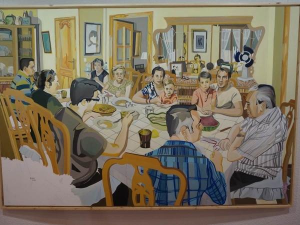 Pepe Carretero, «Almuerzo familiar», óleo/lienzo 160 x 190 cm. 2016
