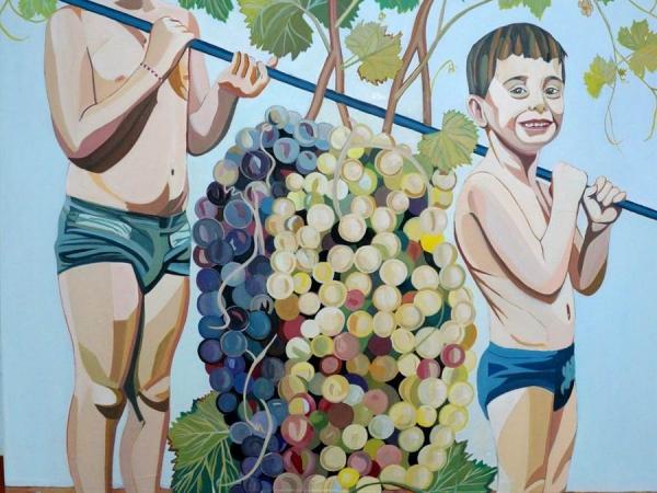 Pepe Carretero, «los emisarios de emaus», óleo/tabla 110 x 130 cm. 2016