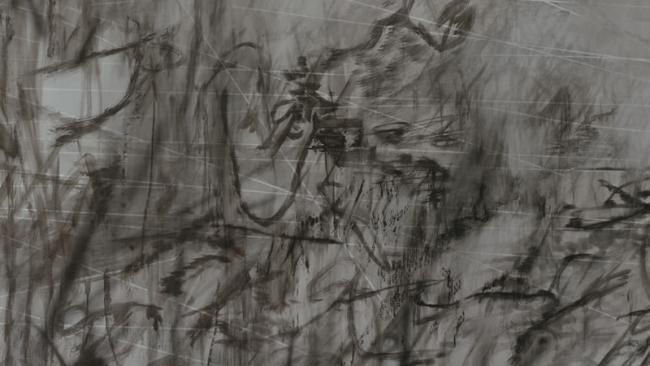 Julie Mehretu, Invisible Sun (algorithm 7, spell form), 2015, Tinta y acrílico sobre lienzo 304 x 424.2 cm, (JM 0190.15). Foto Tom Powell. Cortesía de la artista y Marian Goodman Gallery, Nueva York. © Julie Mehretu