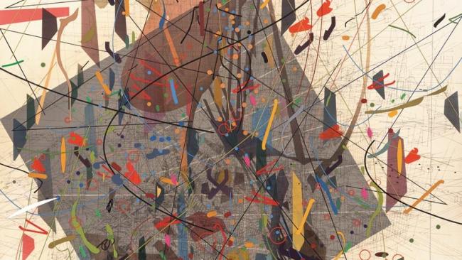 Julie Mehretu, Zero Canyon (a dissimulation), 2006 Tinta y acrílico sobre lienzo, 304.8 x 213.4 cm (JM 1290.06). Cortesía de la artista y Marian Goodman Gallery, Nueva York. © Julie Mehretu | Ir al evento: 'Julie Mehretu. Una historia universal de todo y nada'. Exposición de Pintura en Centro Botín / Santander, Cantabria, España